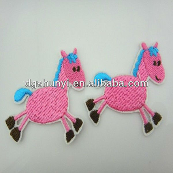 lovely Pink Trojan baby Series appliques embroidery horse