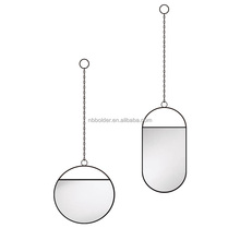 Wholesale bathroom decorative wall hanging round black metal frame dressing mirror
