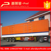 China 3 axles van box semi trailer bulk cargo transporters with low factory price