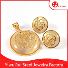 all new design flower covered yellow jade jewelry set