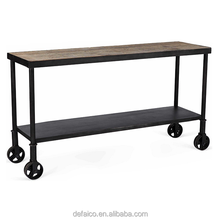 Industrial Metal Cart Natural Reclaimed Wood Console Table