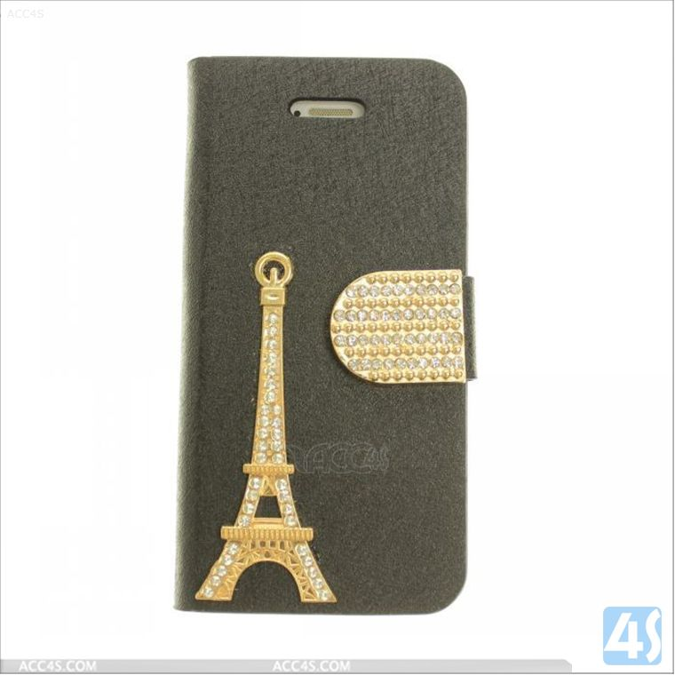 Bling Diamond Iron Tower pattern Leather Case for iPhone 5 P-IPH5CASE135