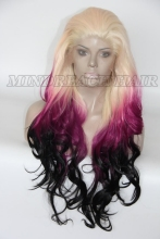 High quality heat resistant curly glueles three tone color synthetic lace front wig 12-26 inch curl curly synthetic wig
