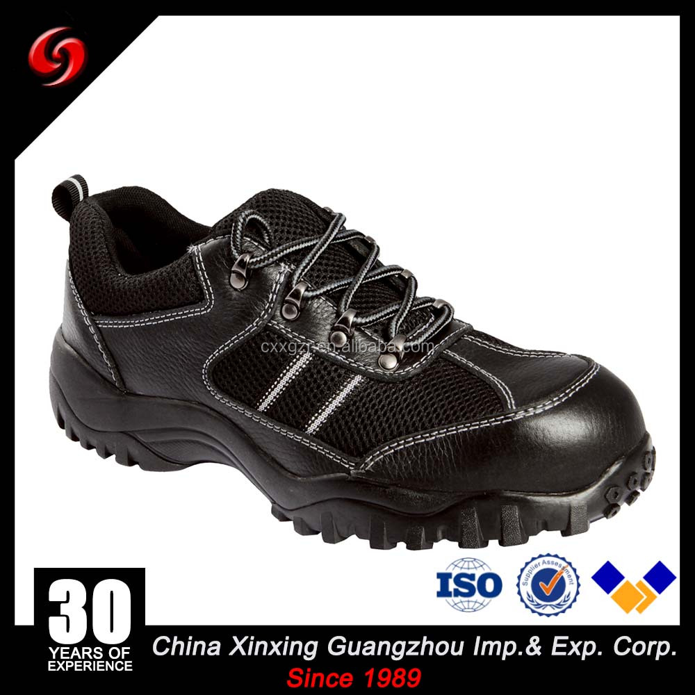 Sporty Black Embossed Cow Leather Steel Toe Safety Shoes