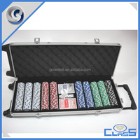MLD-AB182 Professional rolling trolley 11.5g 500 gaming aluminum poker chip case with casino set
