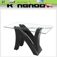 Hot-selling and popular wooden frame glass top dining table