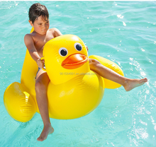 giant kids duck rider pvc inflatable yellow duck rider float pool toy
