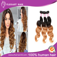 Top Quality Ombre Indian Body Wave Hair Extensions Raw Indian Hair Ombre Weave Unprocessed Virgin Indian Hair On Sale