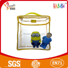 colored border pvc clear plastic bag with handler for child book/kid toy