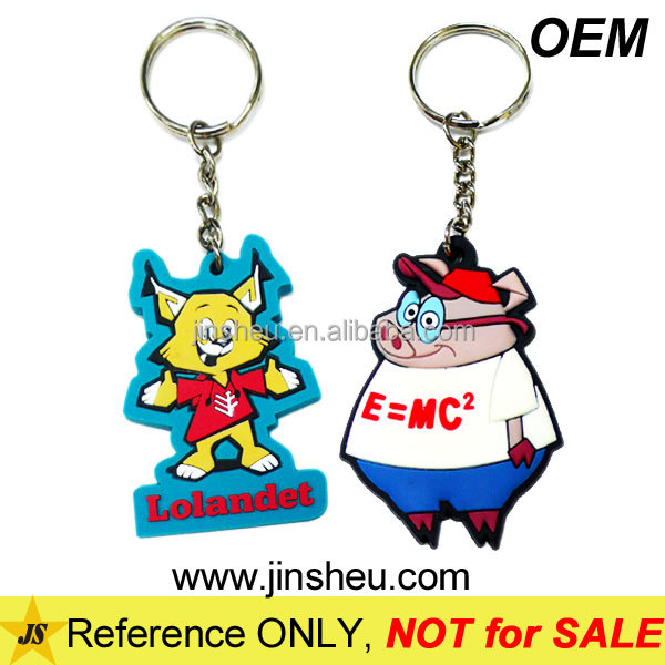 Custom Made PVC Rubber Plastic Animal Cute Cartoon Character Key Chain