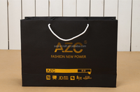 Black fashion gold logo printing shopping carry paper bags