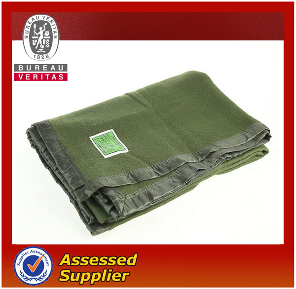 Green pure wool military army blanket