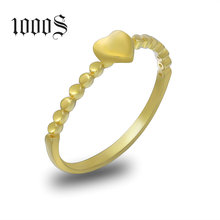 Free Sample Dropshipping Elegant Cute AU585 Gold 14K Yellow Gold Heart Shaped Finger Ring