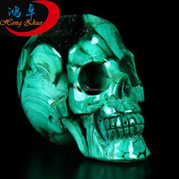 Natural malachite stone carved crystal skulls