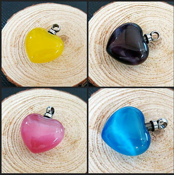 different colors heart shape cremation jewelry glass urn pendant