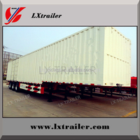 Tri-axle dual wheel van type strong utility box trailer van trailer