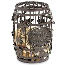 Metal Wire Wine Barrel Cork Holder Stand