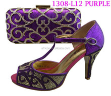 1308-L12 purple Elegant high heel women shoes match bag for wedding/party