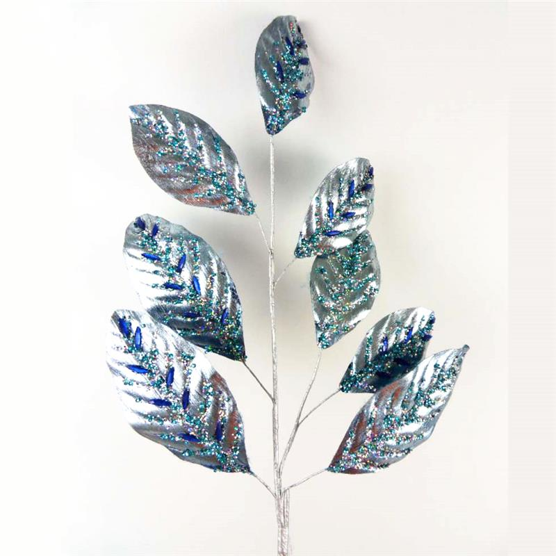 Blue christmas leaves spray with beads and sequins wholesale garden tree decorative wth glitter