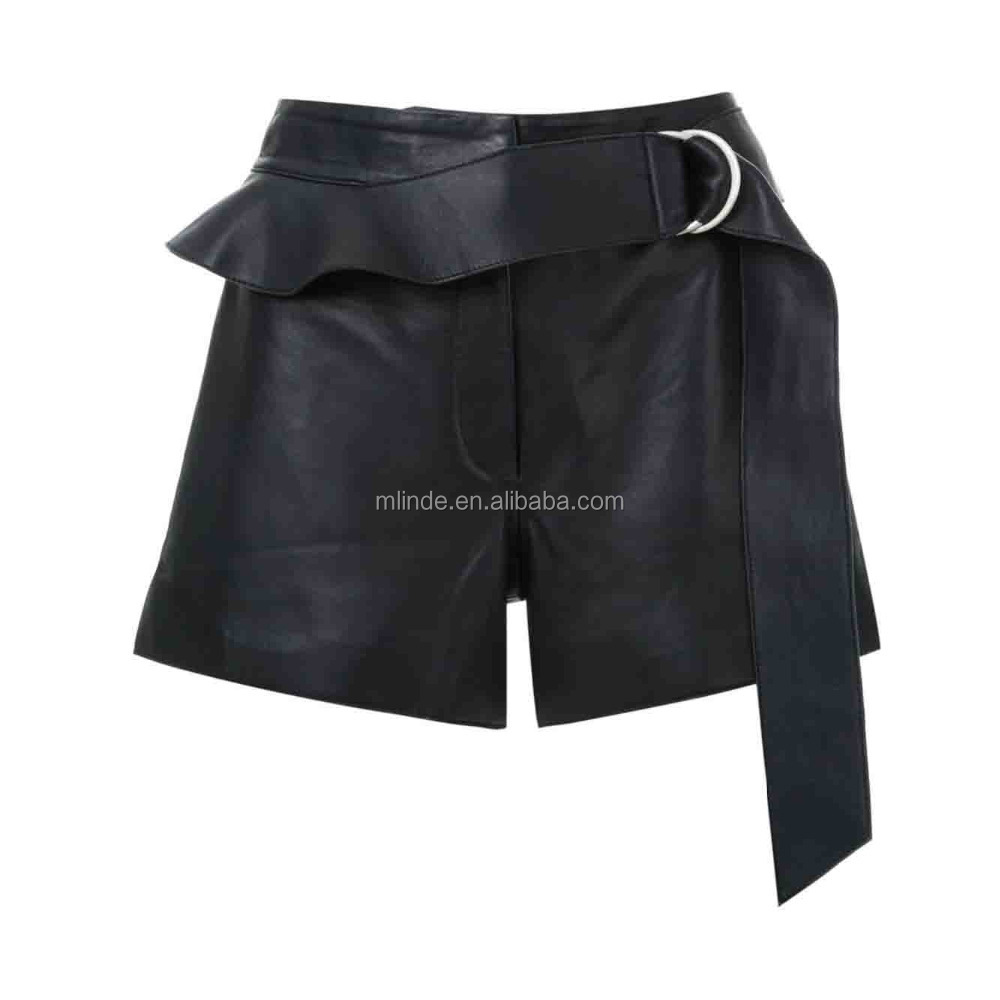 New Arrivals Women Fashion Solid Black Leather Shorts Pants with Belts Wholesale Custom China Apparel Agent