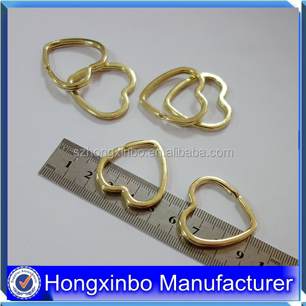 Hongxinbo factory custom cheap heart shape split keyring