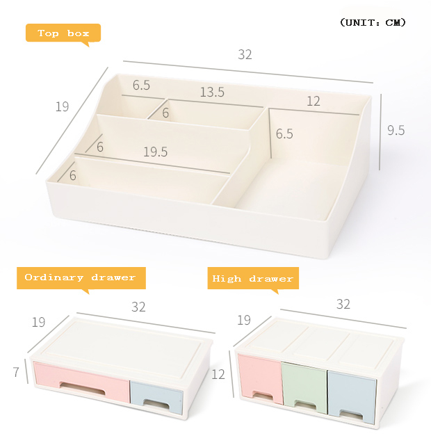 Small article storage cosmetic organizer makeup case drawer