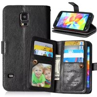 For Samsung Galaxy S5 case Flip PU Leather Wallet Case with 9 Cards Slots Stand Mobile Phone Cover case