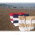 2018 New Canvas Stripe Beach Bag Rope Handle Shoulder Bag(Color: Beige,red,blue)