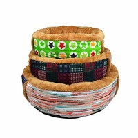 Winter round luxury pet beds dog bed with super soft plush fur fabric