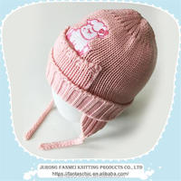 baby girl lovely acrylic earflap hat with emboridery pattern