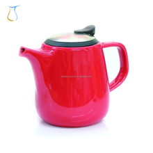 Red Glaze Ceramic Tea Pot with Stainless Steel Filter