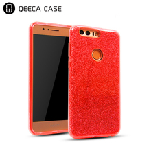Luxury shockproof design customized 3 in 1 hybrid pc tpu for huawei honor 8 glitter phone case oem