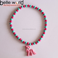 Multicolor Girls Party Gift Shiny Plastic Beads Kid Horse Necklace