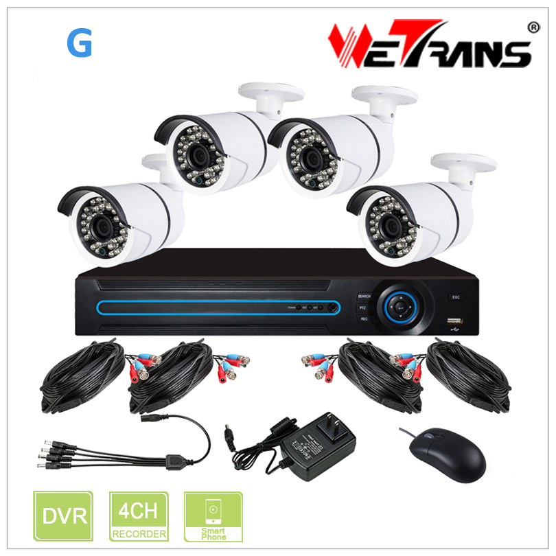 WETRANS 4CH CCTV Analog System 720P HD KIT-2404S-G Camera and DVR Economical Surveillance P2P Video CCTV Camera DVR System OEM