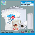 New design light color sublimation heat transfer printing paper high quality t-shirt transfer paper