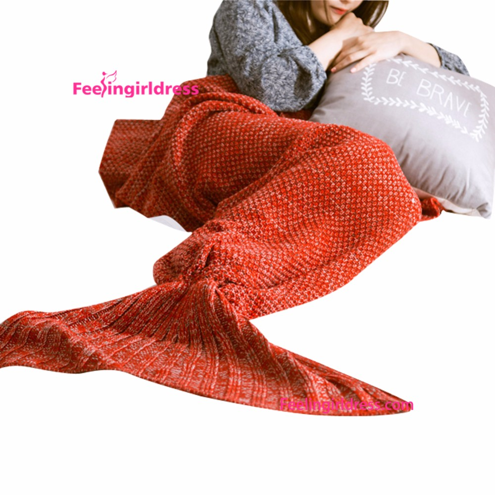 Free Sample <strong>Orange</strong> Crochet Blanket Mermaid Tail For Adults