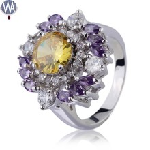 Yellow CZ Ring Wholesale Costume Gold Plated Jewelry Smart Fashion Wedding Finger Ring