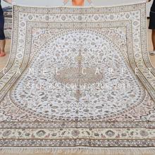 White Art Silk Rug Persian Style Large Bedroom Chinese Tabriz Silk Rug