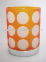 orange dotted glass candle holder