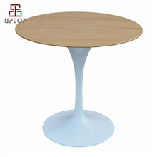 Modern leisure outdoor cafeteria white tulip wooden round table with tulip table base