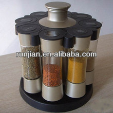8 JARS CAROUSEL ROTATING Spice rack HOLDER 100ml spice box