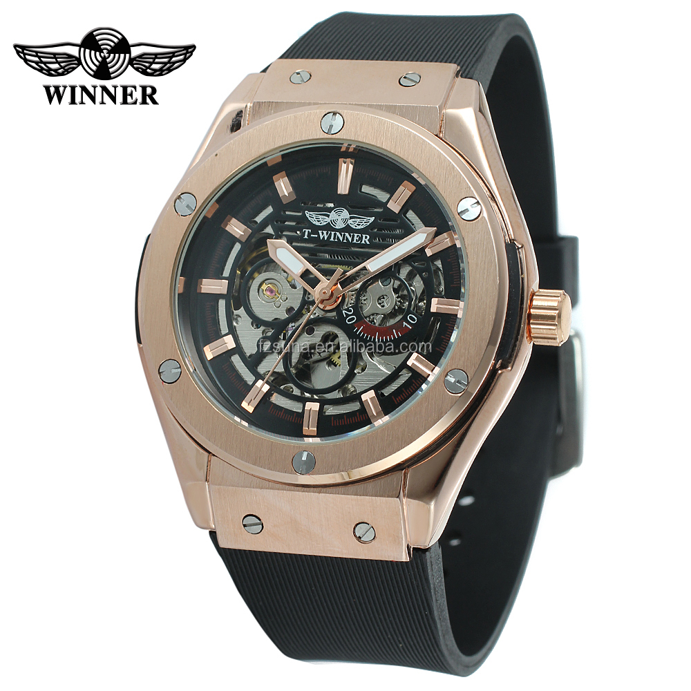 Winner 3 Dial Golden Metal Series Men Brand Watch Top Brand Luxury Automatic Man Mechanical Skeleton Wrist Watch