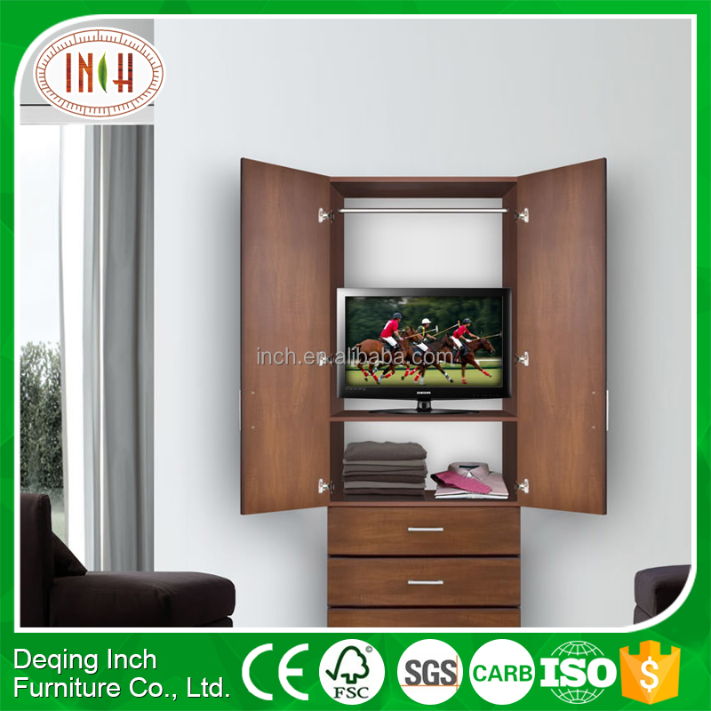 laminate design mdf wardrobe with tv cabinets