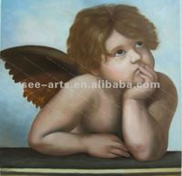 Handcraft baby angel oil painting on canvas,nude kids oil painting