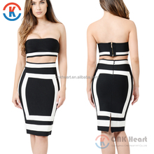 Factory wholesale sexy women two piece bodycon off shoulder dress with back zipper