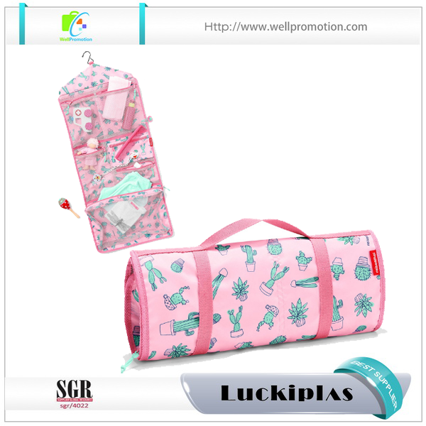 Full printing Make up organizer washer bags with compartments folding long travel toiletry cosmetic bag
