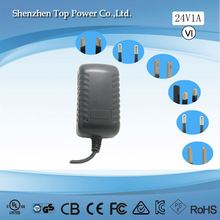 12V 1A UL /CSA AC/DC adapter for IP telephony products with 24W Wall Mounted Interchangeable Switching Adapter