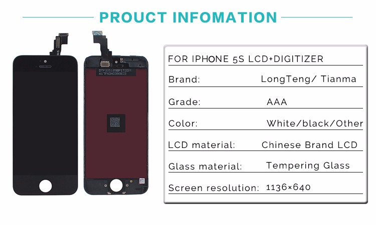 LongTeng LCD Display For iPhone 5S Touch Screen with Digitizer Glass Assembly Replacement No Dead Pixel