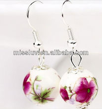 silver ethnic tribal ceramic porcelain earrings jewelry,dangle and hook exotic Polymer Clay flower beaded charm earrings