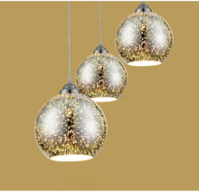 Modern Round 3D chrome colour Ball Decorative Hanging Glass Pendant Lights